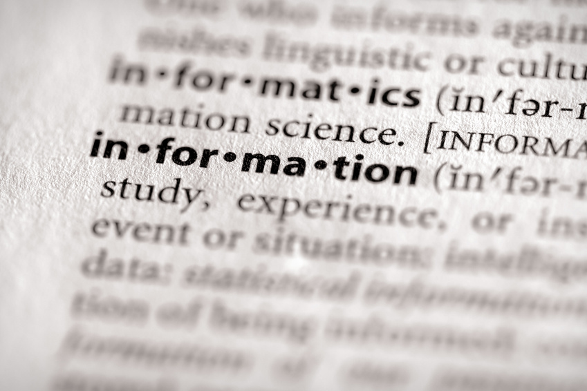 Close up of dictionary definition of nformation
