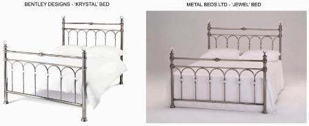 Image of Bentley Krystal Bed & Jewel bed from Metal Beds Ltd