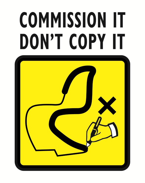 Commission it, don't copy it logo